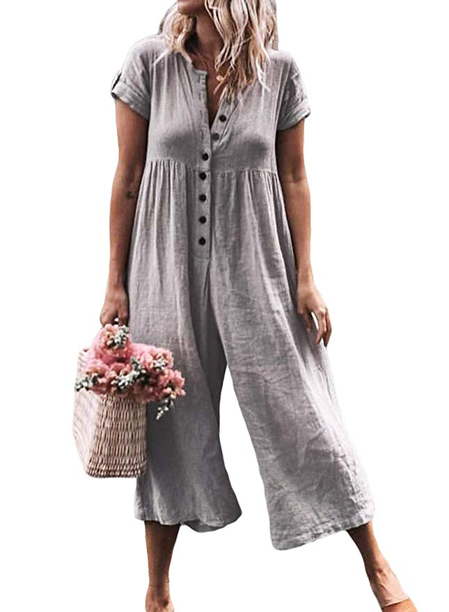 ZKESS Women 2019 Summer V Neck Wide Leg Jumpsuit High Waist Casual Loose Flowy Pants Grey XL 16 18