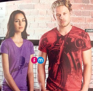 Purple & Red Marl V-neck - print as above, not as pictured