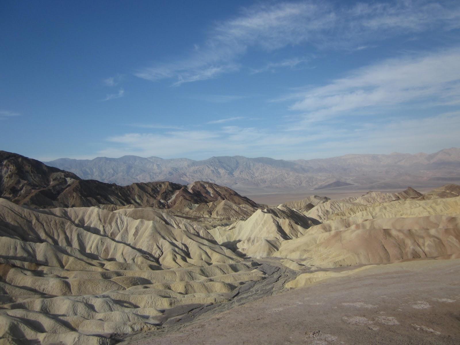 Biking Dantes View Death Valley - Zabriskie Point - colorful sand dunes