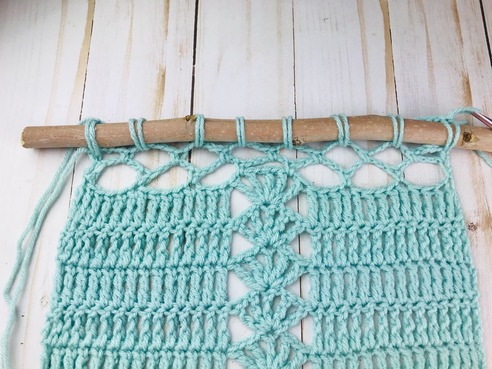 how to attach a crochet wall hanging to a stick