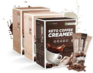 three boxes of their new keto coffee creamer