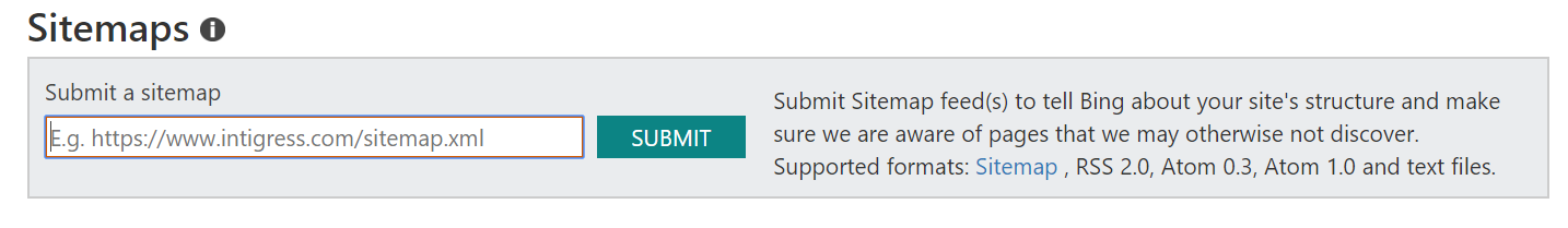 Screenshot of the submit a sitemap box in Bing Webmaster Tools