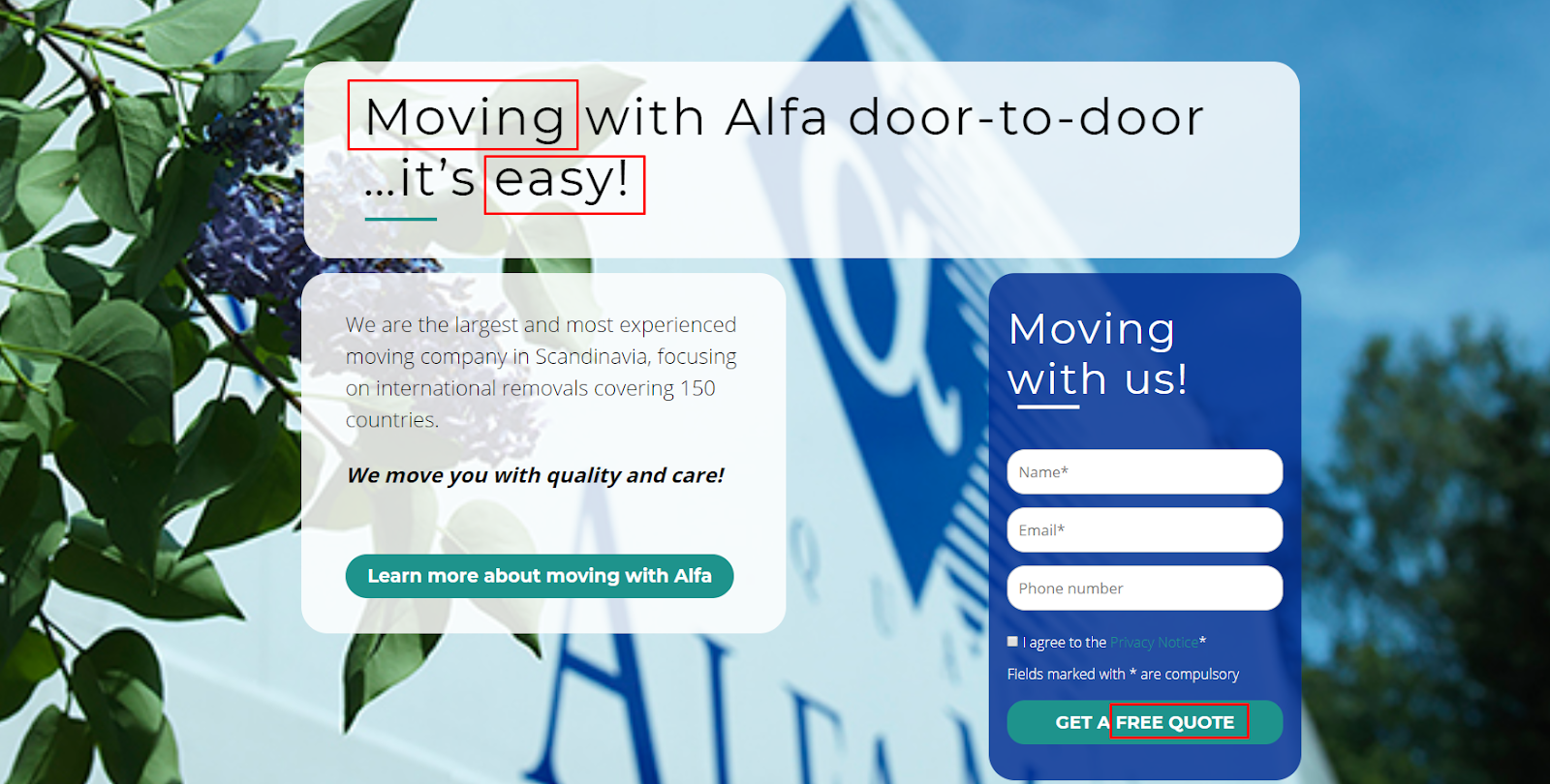 "A good example of a call to action to gain moving leads. ""Moving with Alfa door-to-door... it's easy!"""
