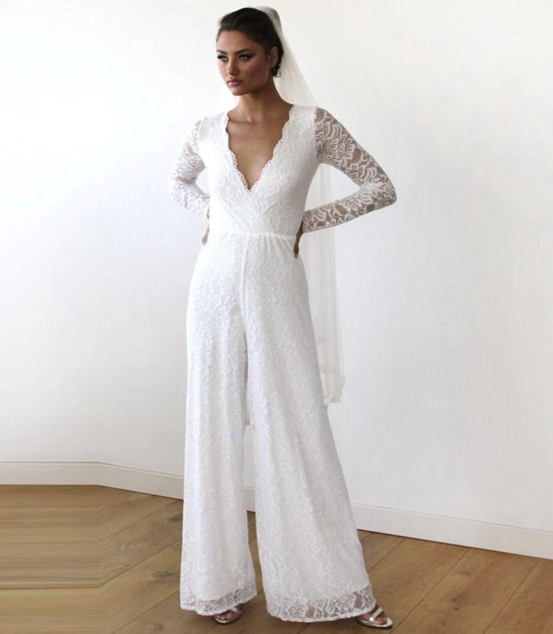 Ivory wedding lace jumpsuit by blush fashion
