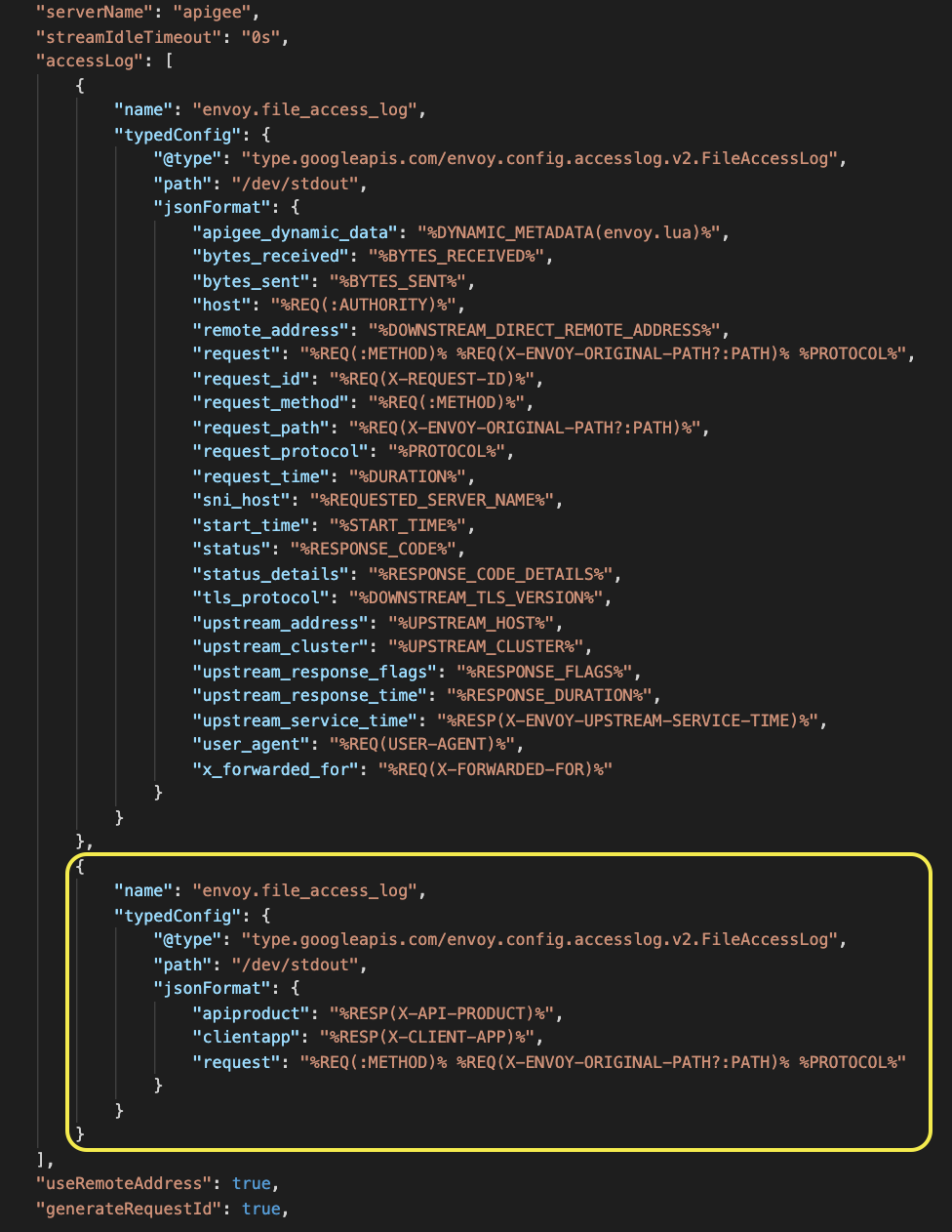 Custom file access log