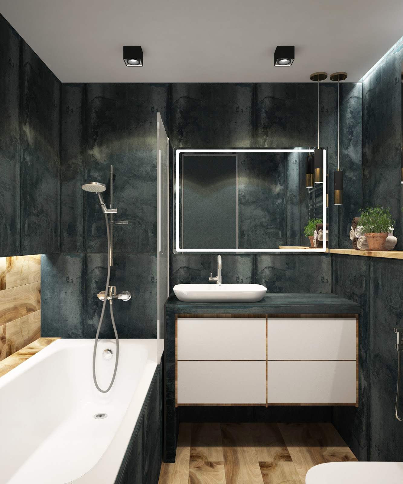 modern bathroom black walls white wood accents