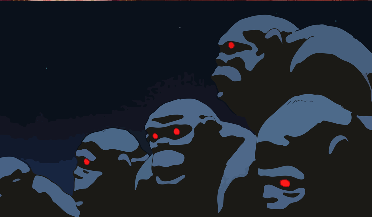 The Ape Tribe with bright red eyes