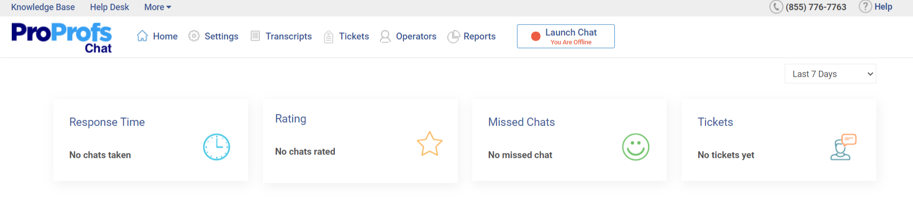 ProProfs Chat dashboard