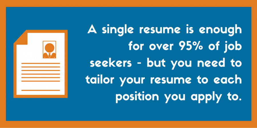 A single resume is enough for over 95% of job seekers - but you need to tailor your resume to each position you apply to.