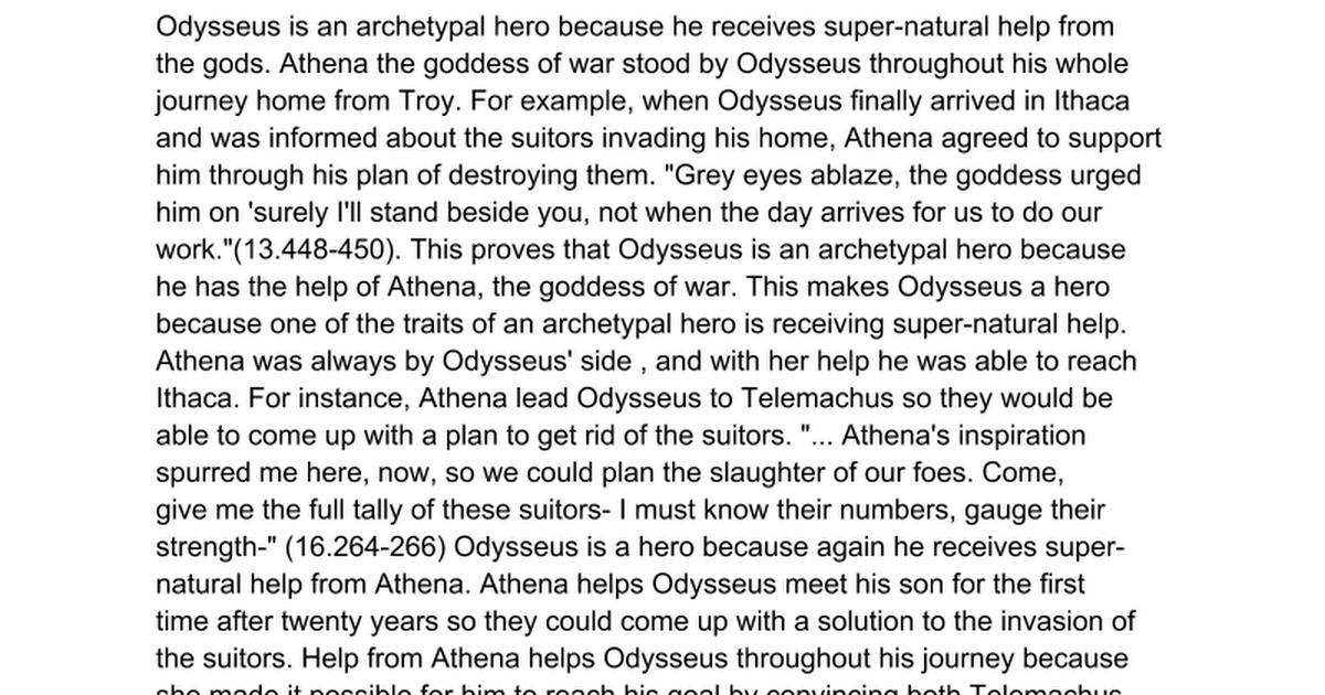 is odysseus a hero essay