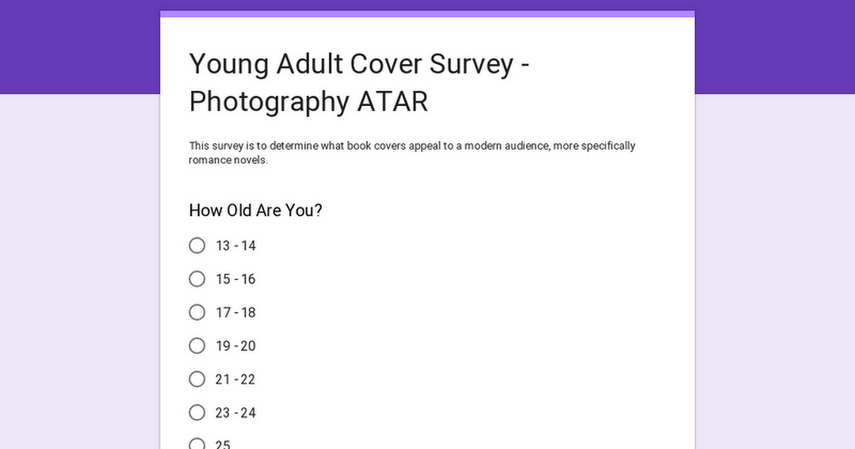 Young Adult Cover Survey - Photography ATAR