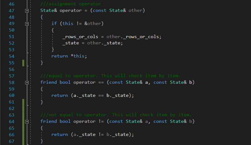 C++ operators for class State in Solving the 8 puzzle problem using A* (star) algorithm