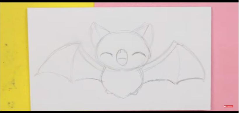 murcielago kawaii para dibujar
