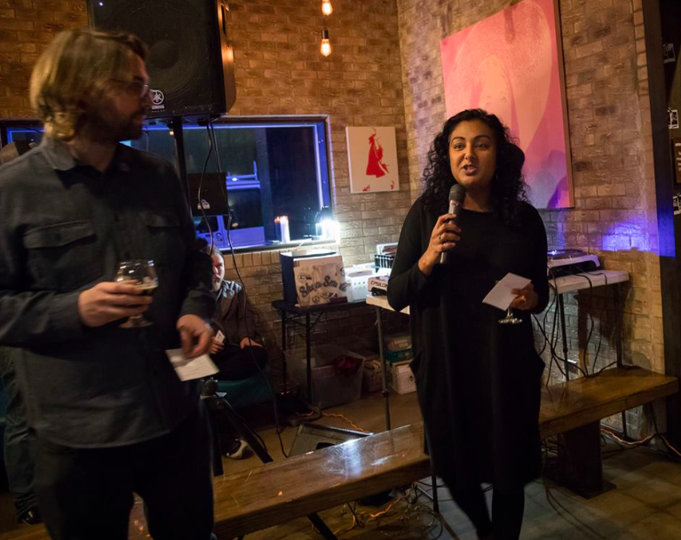 The Tyler Loop, Co-founder Tasneem Raja, hosts a community social to share information about The Loop and its programs at Roast, a Tyler restaurant.  Photo courtesy of The Tyler Loop.