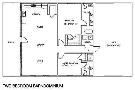 2 bedroom barndominium floor plan