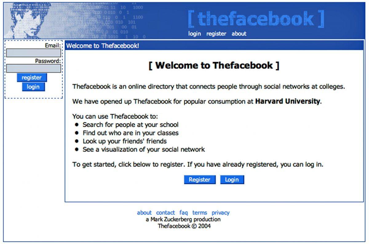 Первоначальный дизайн Facebook