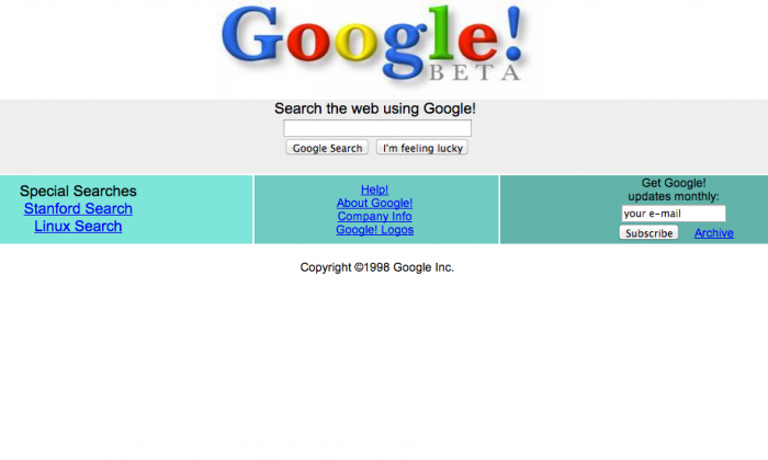 The History of Web Design first . google browser appearance