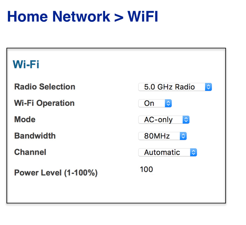 Find the Band section and change its value to 5 GHz.