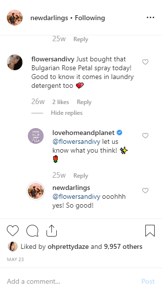 newdarlings instagram post comments
