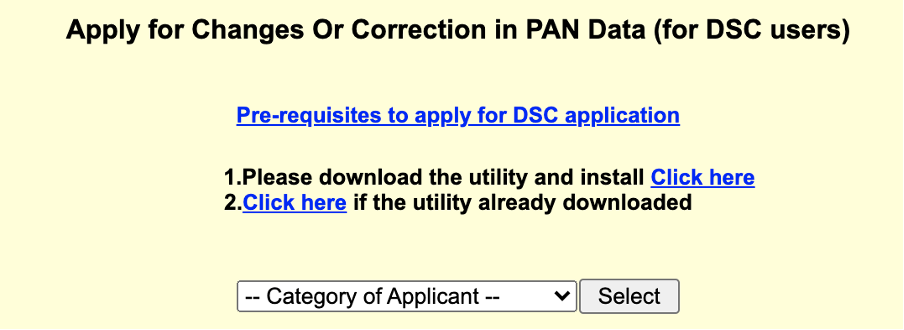 NSDL Apply for changes or corrections in PAN