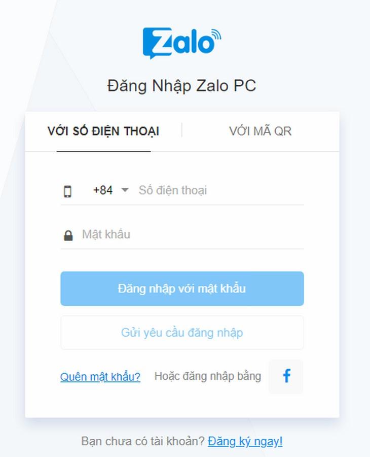 Zalo đăng nhập bằng cách nhập số điện thoại và gửi yêu cầu đăng nhập