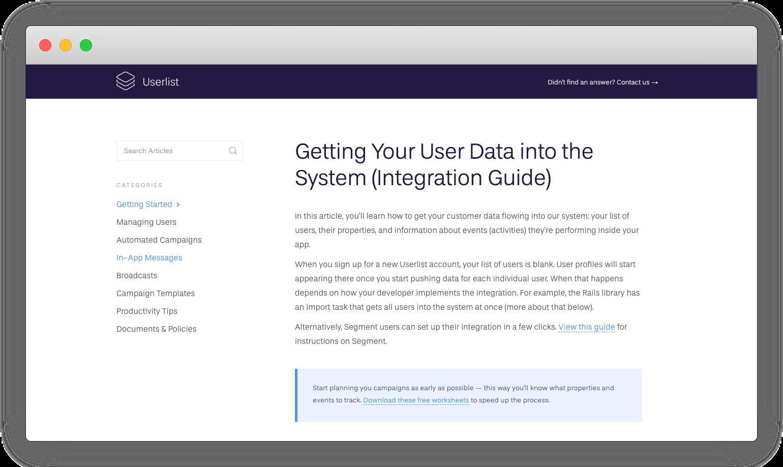 Userlist's help article