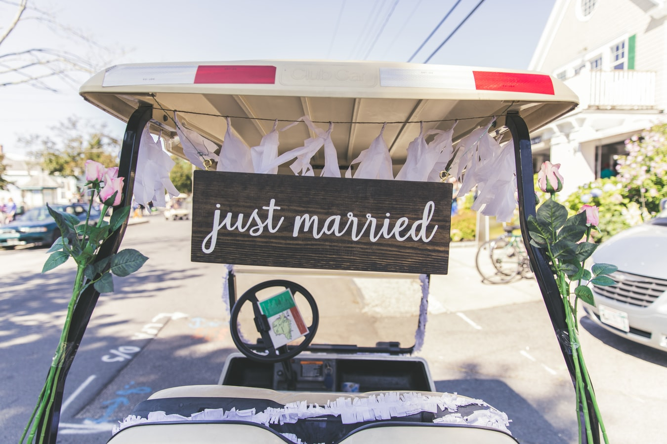 Golf cart with a Just Married sign