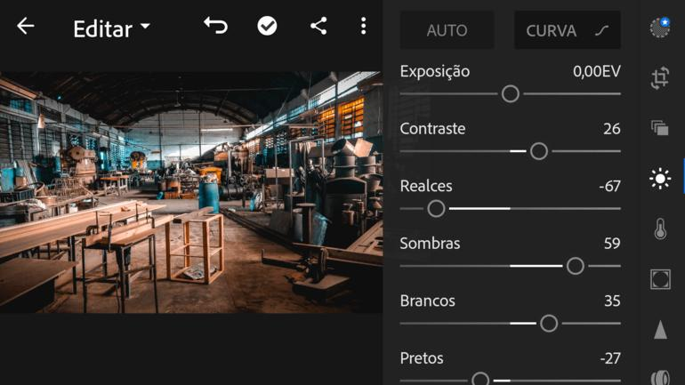 controles do  Lightroom Mobile