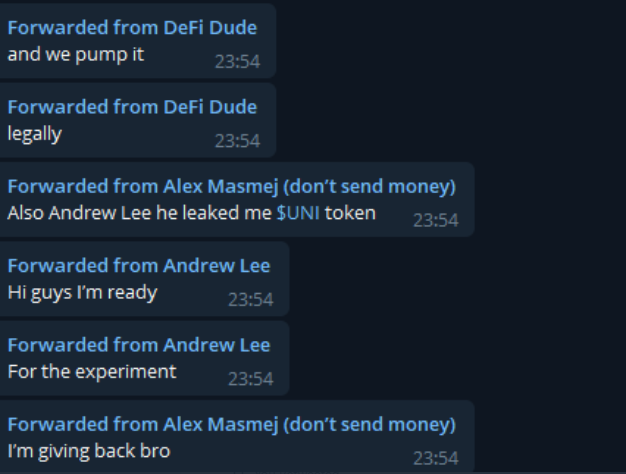 Screengrab of the messages sent in the FEW group