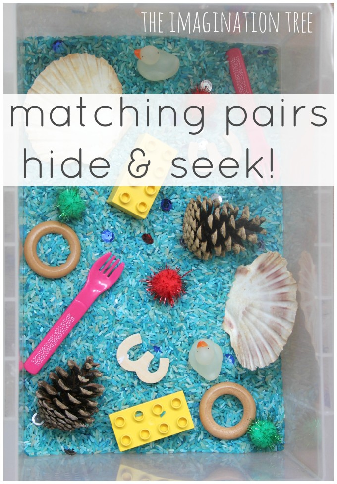 Matching pairs hide and seek sensory tub game for toddlers!