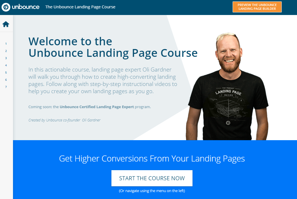 Landing page courses