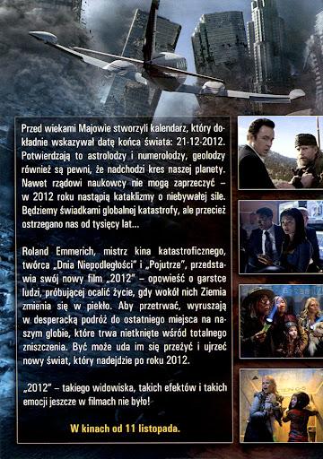 Tył ulotki filmu '2012'