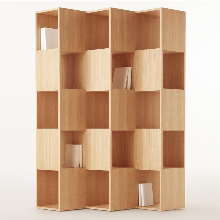 木製の収納家具で空間を仕切る
