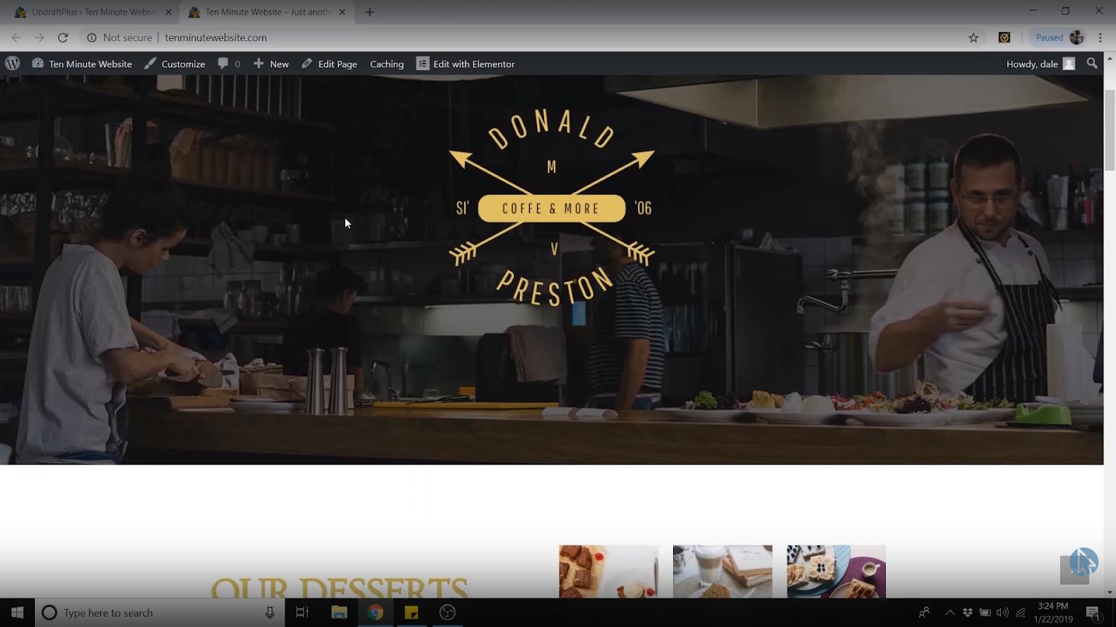 backup wordpress site restored