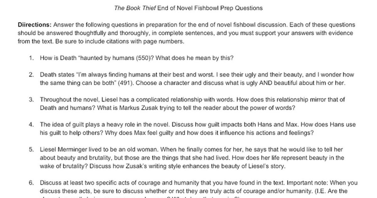 Book Thief Fishbowl Prep Questions Google Docs