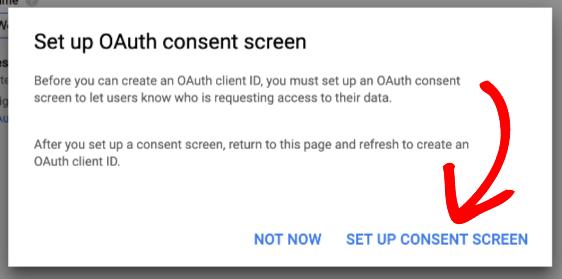 Abra la pantalla de consentimiento de OAuth