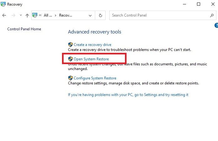 open system restore in the recovery settings