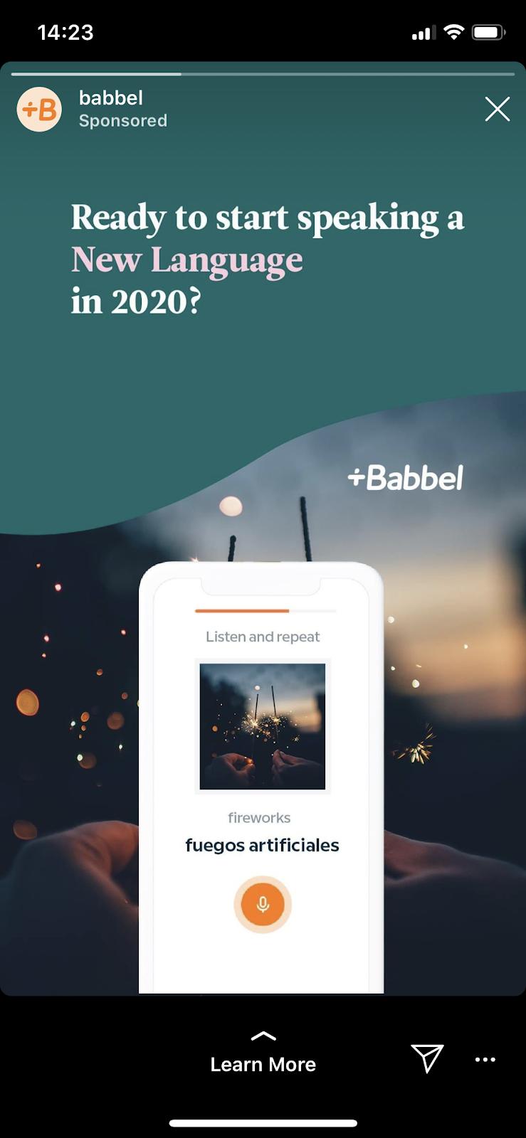 Babbel Instagram ad example