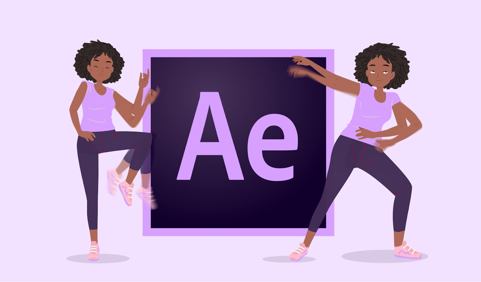 Illustration showing a character animating next to the Adobe After Effects logo
