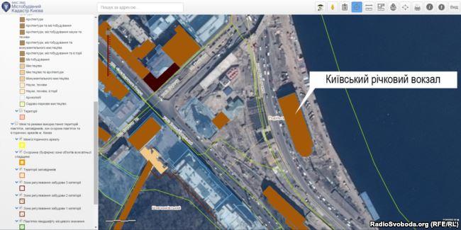 У містобудівному кадастрі Києва немає відомостей про відведення землі під будівлею річкового вокзалу