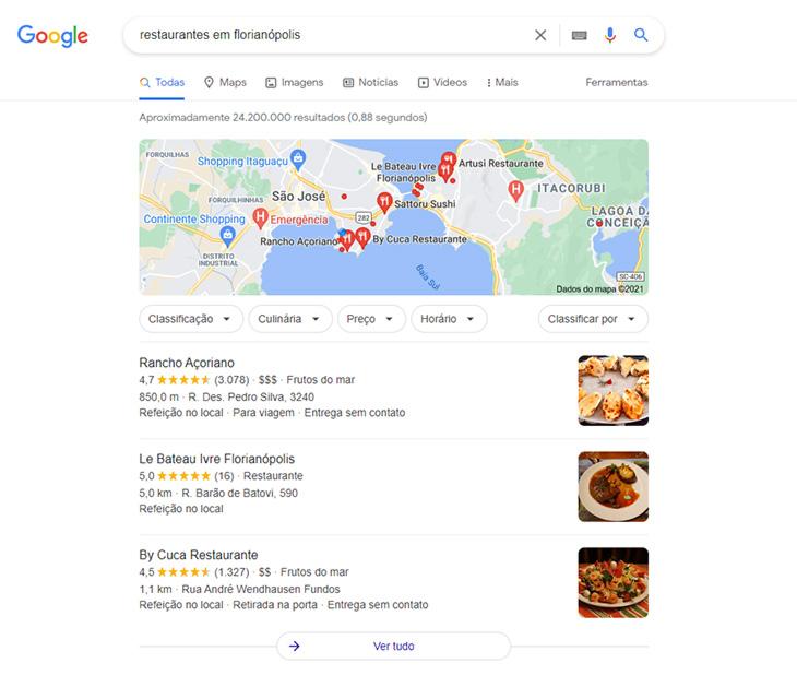 pesquisa no google sobre restaurantes em florianópolis