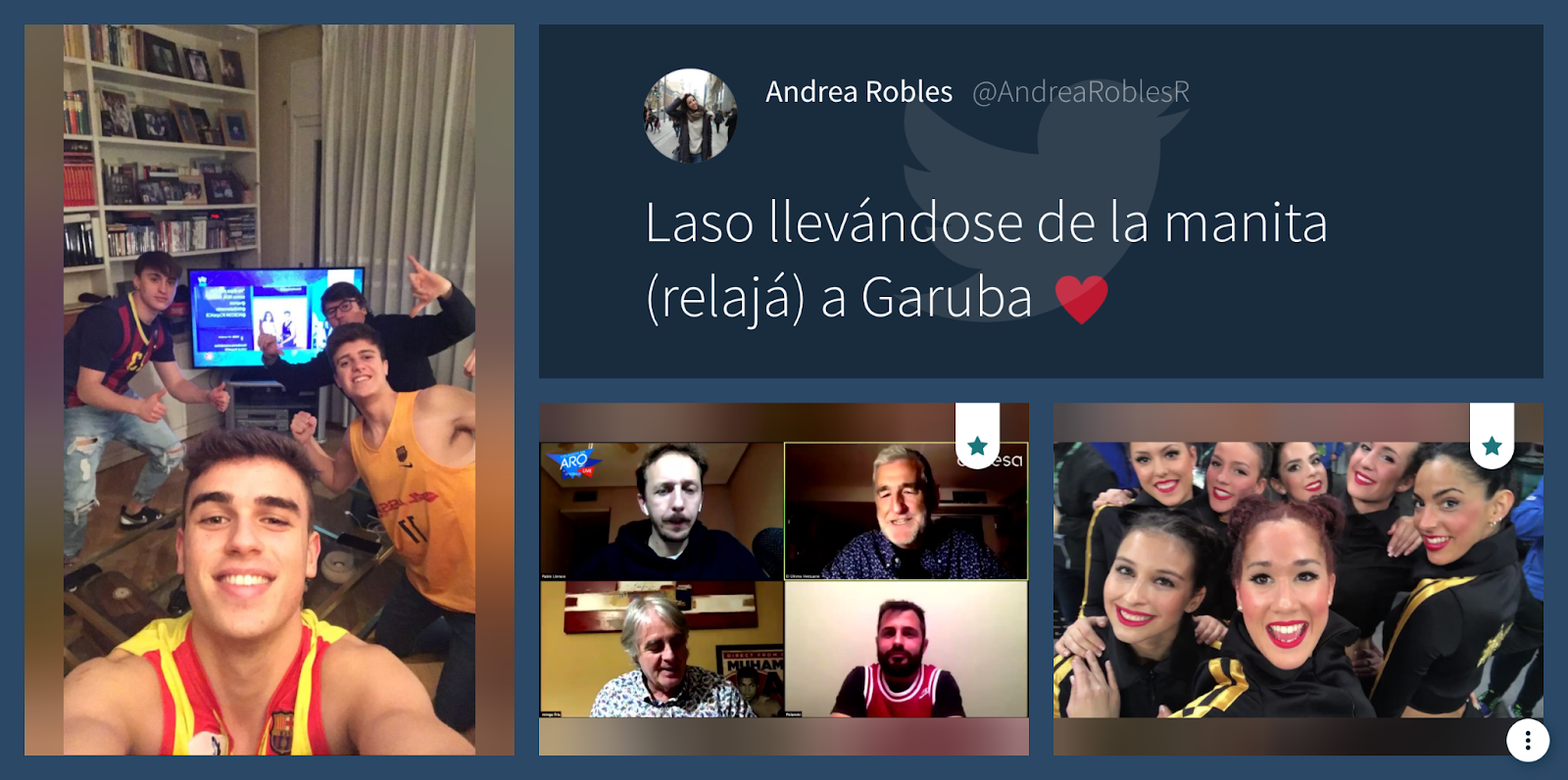 Screenshot of Copa del Rey's live social media wall. In the image appears a group of fans in front of a TV broadcasting the games, supportive messages and a group of cheerleaders.