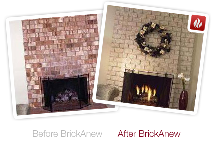 Before and after a Brick-Anew fireplace makeover. Image source: Brick-Anew.com
