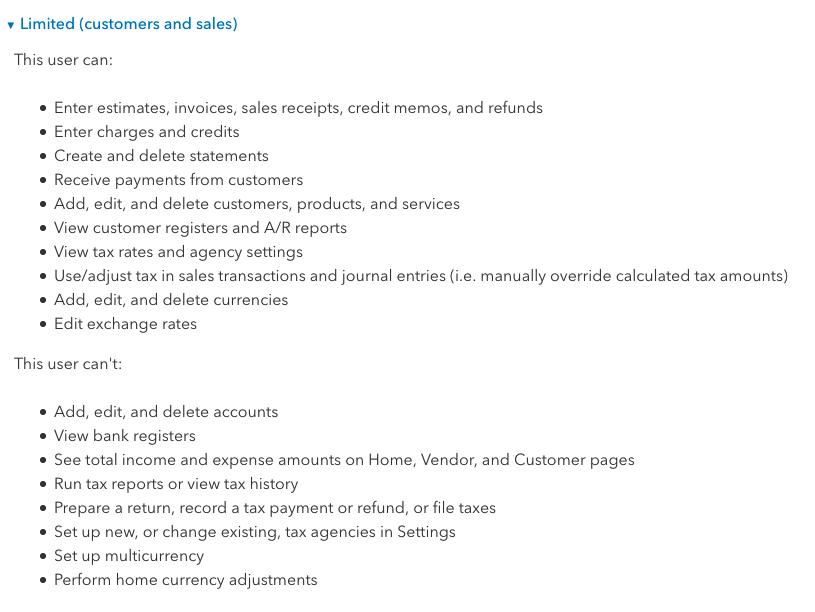 Ways to limit Sales Access on Quickbooks