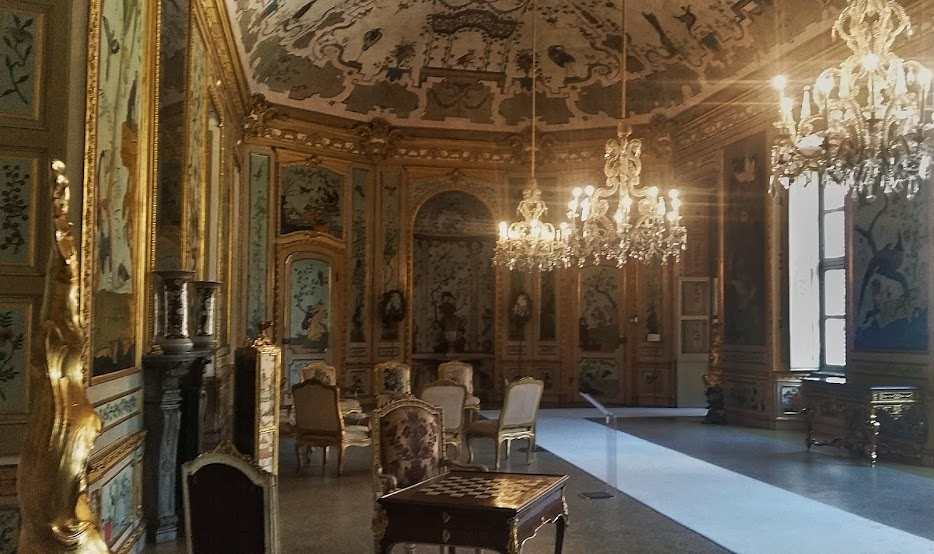 Inside the Hunting Residence of Stupinigi, one of the more formal rooms.