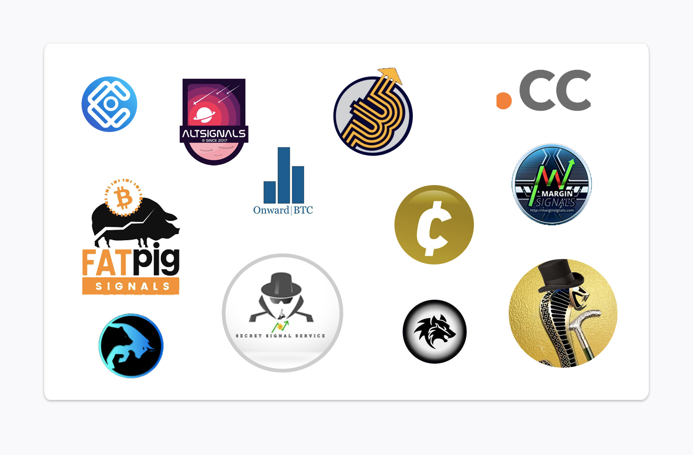 logos of best crypto signals providers