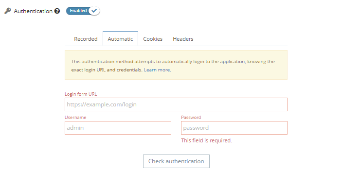The automated method allows you to authenticate using a username and a password.