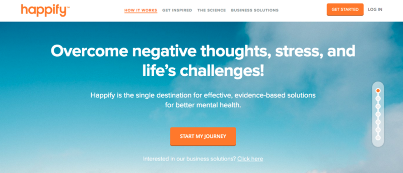 "Screenshot of Happify's landing page with a heading that says ""overcome negative thoughts, stress, and life's challenges."""