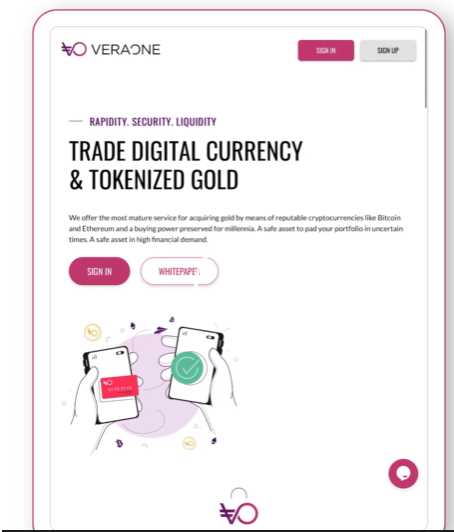 illustration de l'interface de VeraOne permettant de tokeniser de l'or