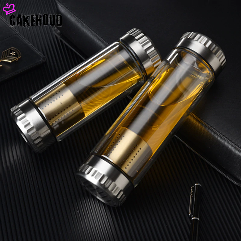 Glass Water Bottle Glass Bottle with Stainless Steel Tea Infuser